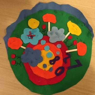 Climate Emblem - felt circle co-created by participants in the Republic of Learning festival, representing their concerns and thoughts about climate change