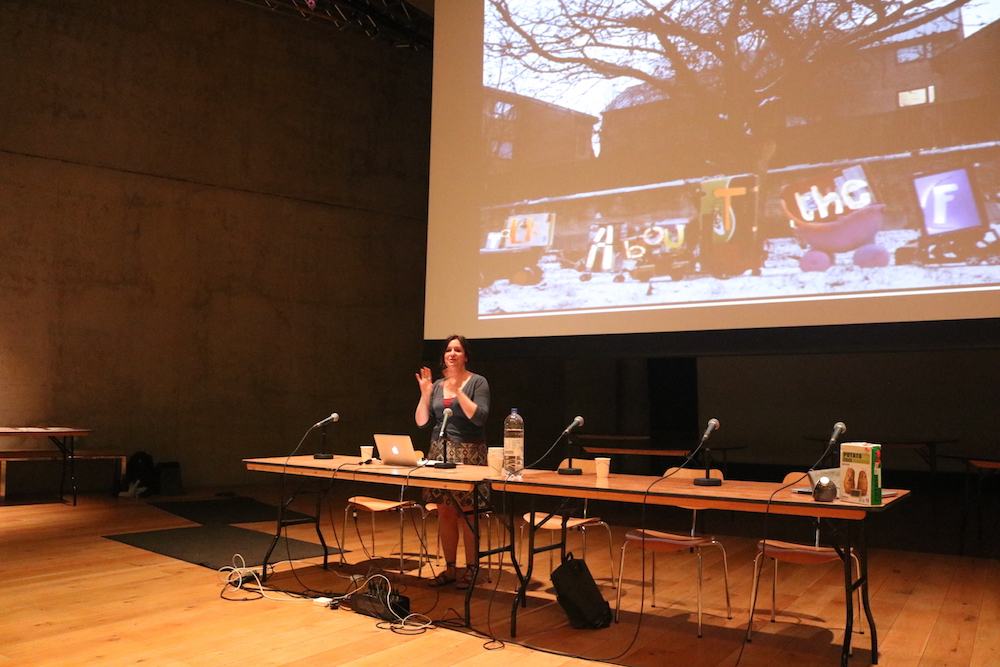Rachel Jacobs presenting at Nottingham Contemporary as part of the When The Future Comes event in 2018
